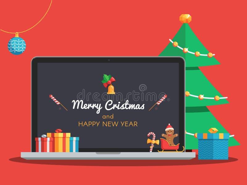 Компьтер-книжка и дерево рождества бесплатная иллюстрация