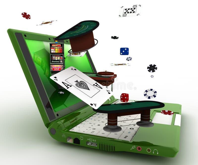 компьтер-книжка и казино иллюстрация вектора