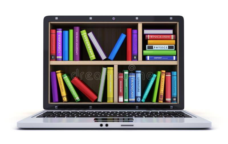 Компьтер-книжка и много книг иллюстрация вектора