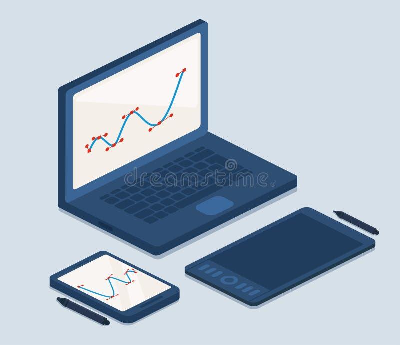 Компьтер-книжка и планшеты для работы иллюстрация штока