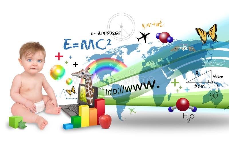 компьтер-книжка компьютера младенца учя детенышей стоковые изображения