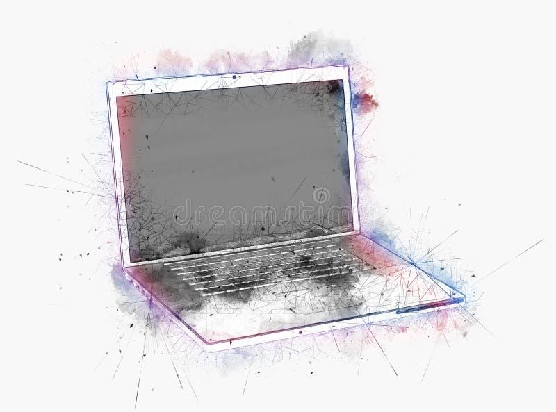 Компьтер-книжка окруженная splatter краски иллюстрация вектора