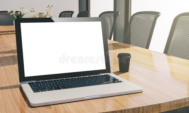 компьтер-книжка пустого экрана на модель-макете конференц-зала иллюстрация вектора