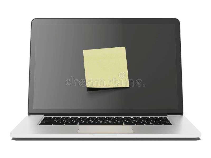 Компьтер-книжка с желтым примечанием ручки иллюстрация вектора
