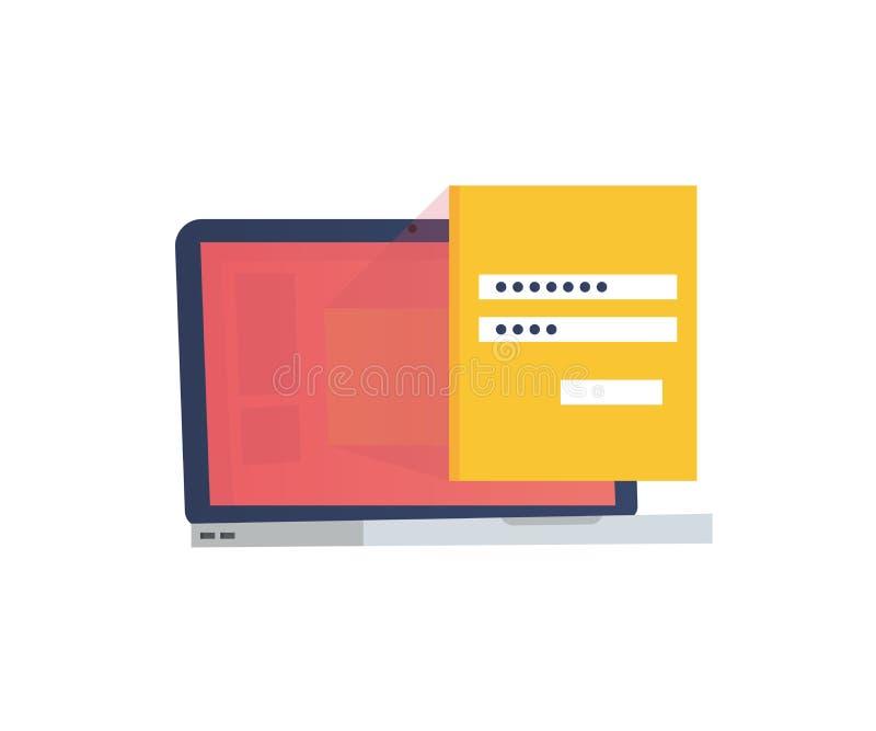 Компьтер-книжка с паролем и формой имени пользователя Имя пользователя, поля пароля, подписывает внутри кнопку также вектор иллюс бесплатная иллюстрация