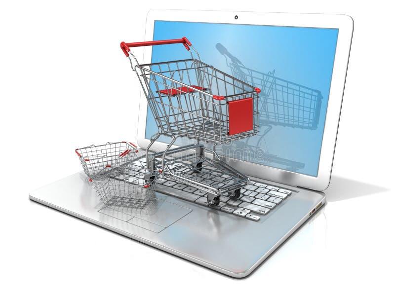 Компьтер-книжка с стальными корзиной для товаров и магазинной тележкаой Принципиальная схема он-лайн покупкы иллюстрация вектора