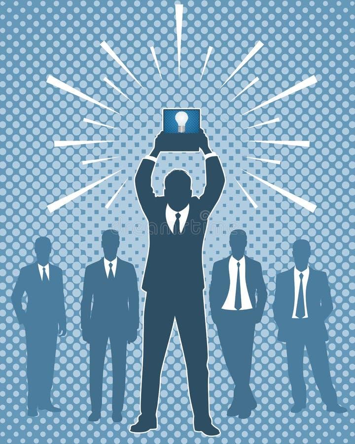 компьтер-книжка удерживания бизнесмена иллюстрация штока