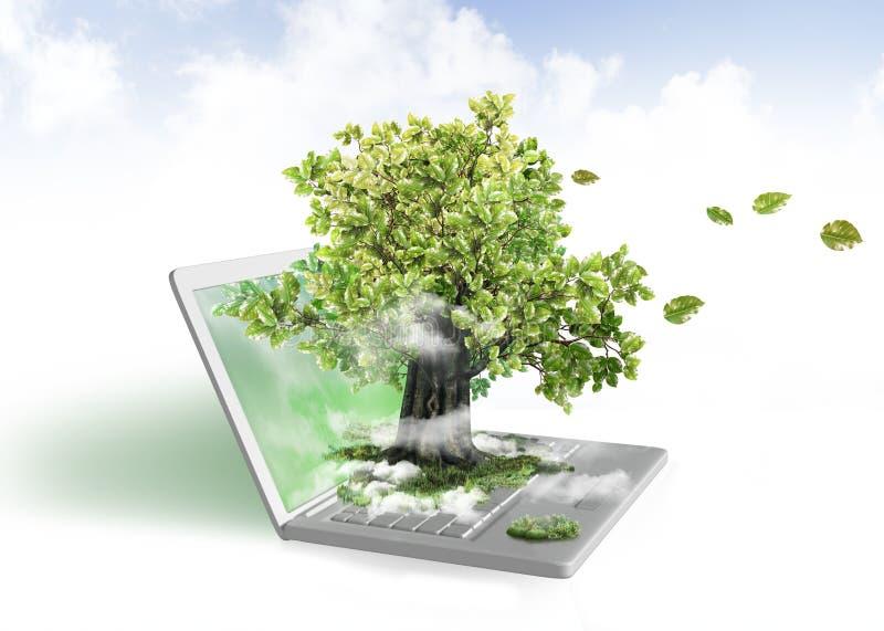 компьтер-книжка энергии зеленая иллюстрация штока