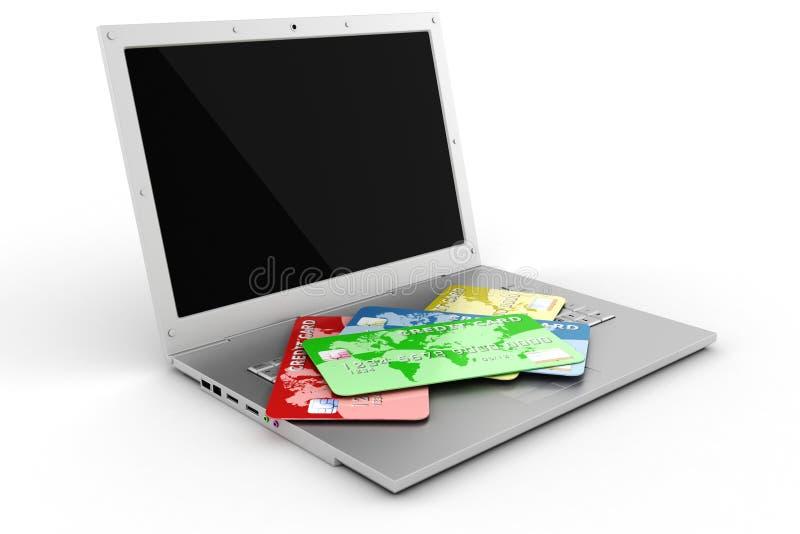 компьтер-книжка 3d и кредитные карточки иллюстрация вектора