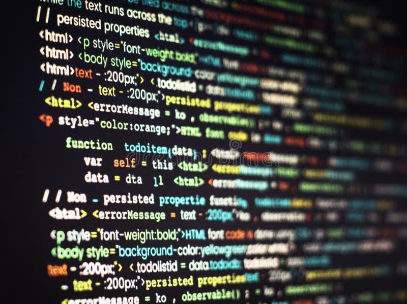 Компьутерная программа кодируя на экране стоковые фото