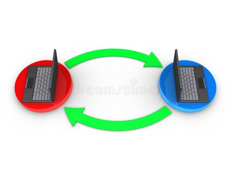 2 компьютера взаимодействуют друг с другом иллюстрация штока