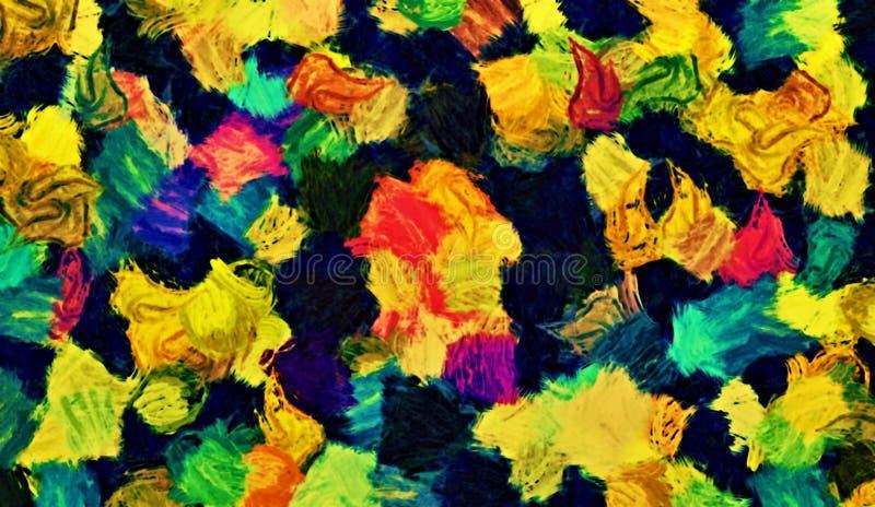 Компьютерная графика абстрактной психоделической предпосылки покрашенных расплывчатых хаотических ходов и краски пятнает с щеткам иллюстрация вектора