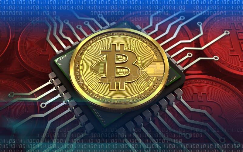 компьютерная микросхема bitcoin 3d стоковое фото rf