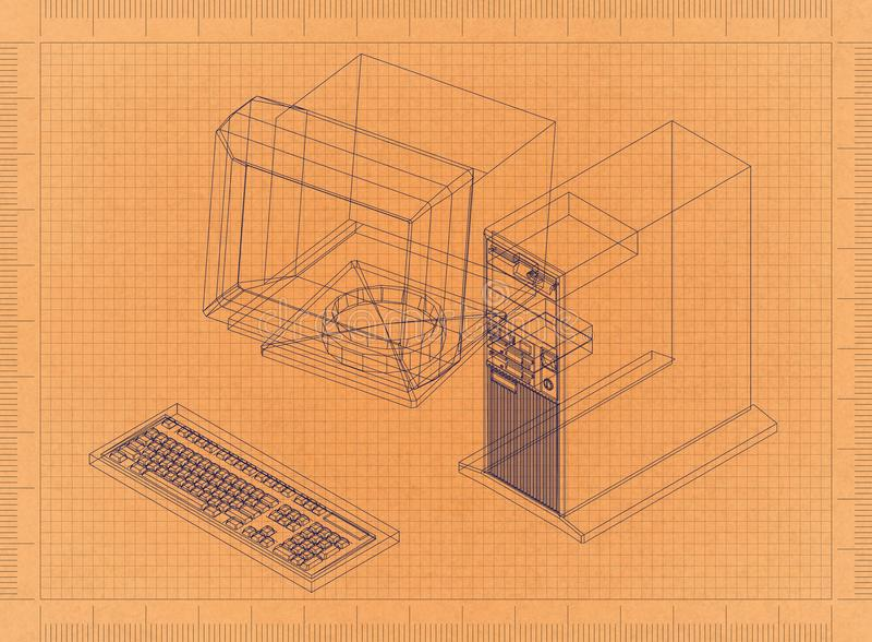 Компьютерная ретро светокопия иллюстрация вектора