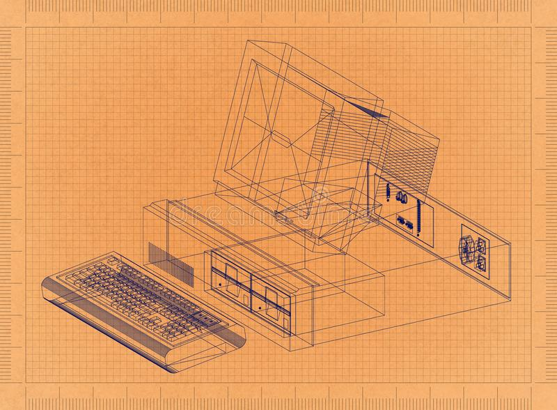 Компьютерная ретро светокопия бесплатная иллюстрация