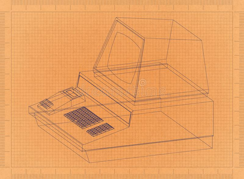 Компьютерная ретро светокопия иллюстрация штока