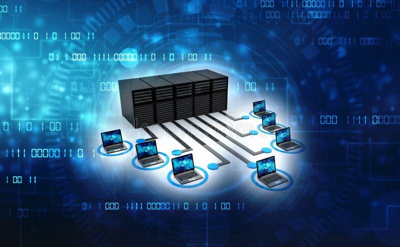 Компьютерная сеть, глобальная интернет-связь Компьютеры, подключенные к серверам 3d рендеринг бесплатная иллюстрация