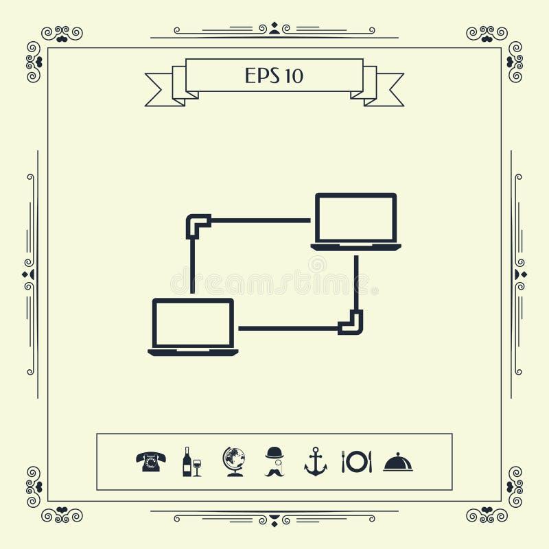 Компьютерная сеть, обмен данными, значок концепции перехода иллюстрация вектора