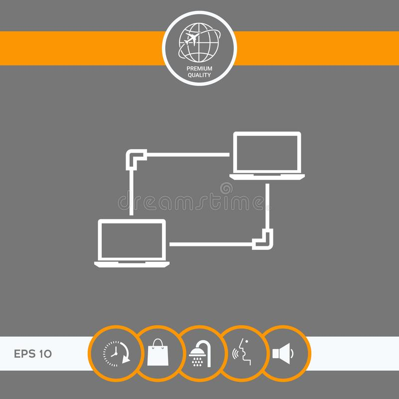 Компьютерная сеть, обмен данными, значок концепции перехода бесплатная иллюстрация