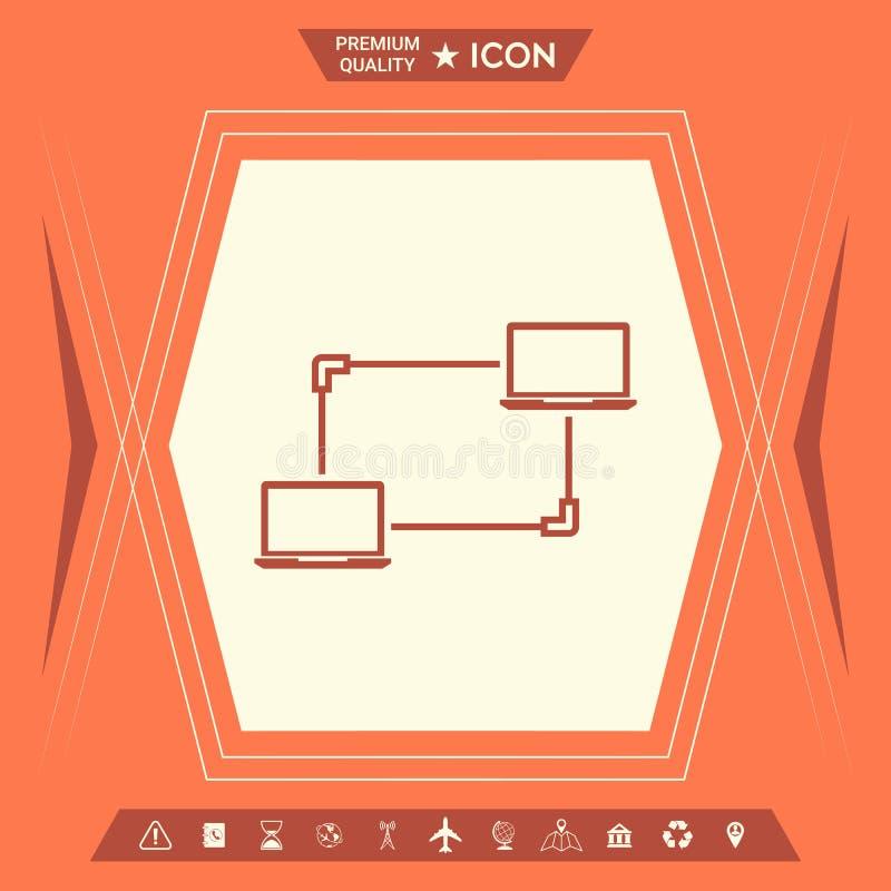Компьютерная сеть, обмен данными, значок концепции перехода иллюстрация штока