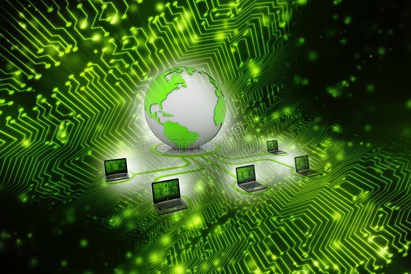 Компьютерная сеть, связь интернета в предпосылке технологии перевод 3d иллюстрация штока