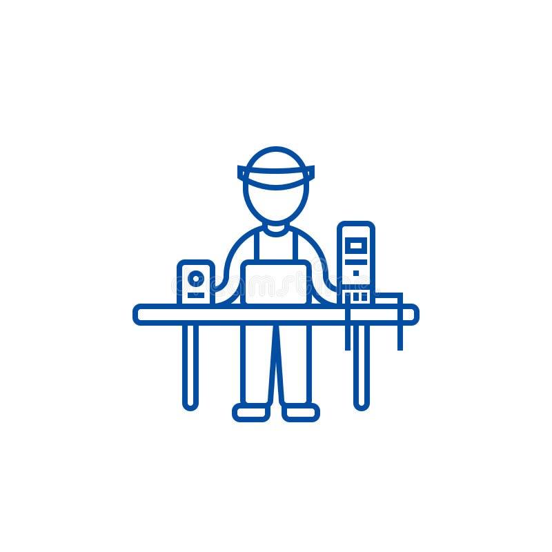 Компьютерное обслуживание, специалист по ПК, линия концепция enigneer значка Компьютерное обслуживание, специалист по ПК, символ  иллюстрация вектора