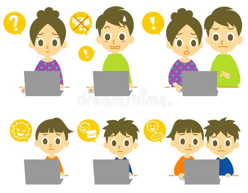 Компьютерные вирусы семьи компьютера иллюстрация штока