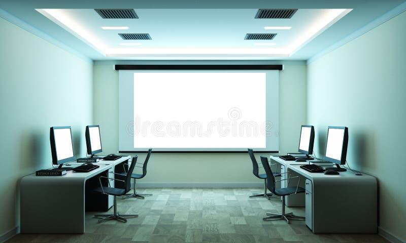 Компьютерный бизнес - красивые конференц-зал зала заседаний правления и таблица компьютера r иллюстрация вектора