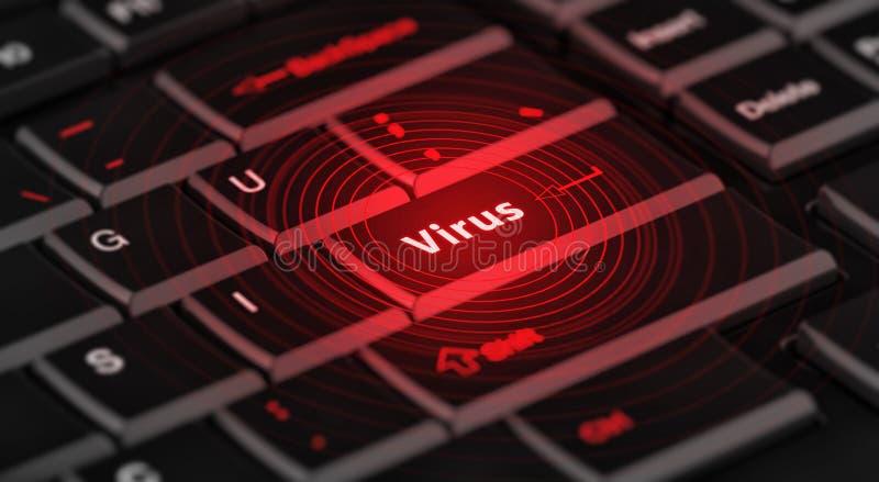 Компьютерный вирус дальше входной ключ стоковая фотография rf
