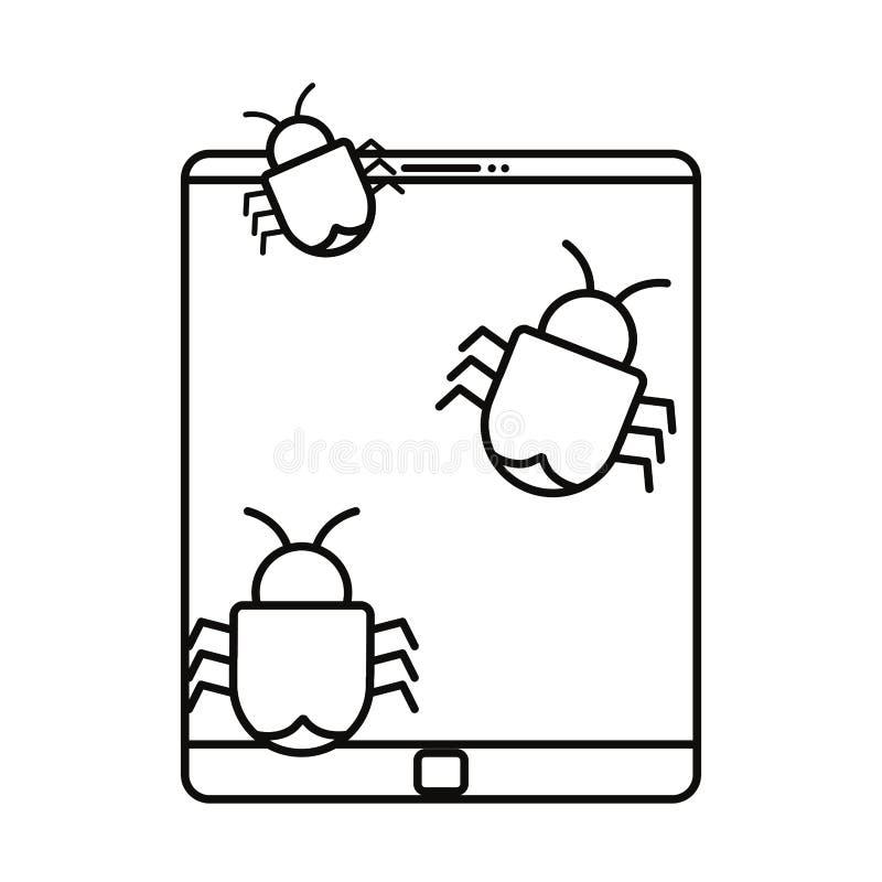 Компьютерный вирус прослушивает белую предпосылку бесплатная иллюстрация