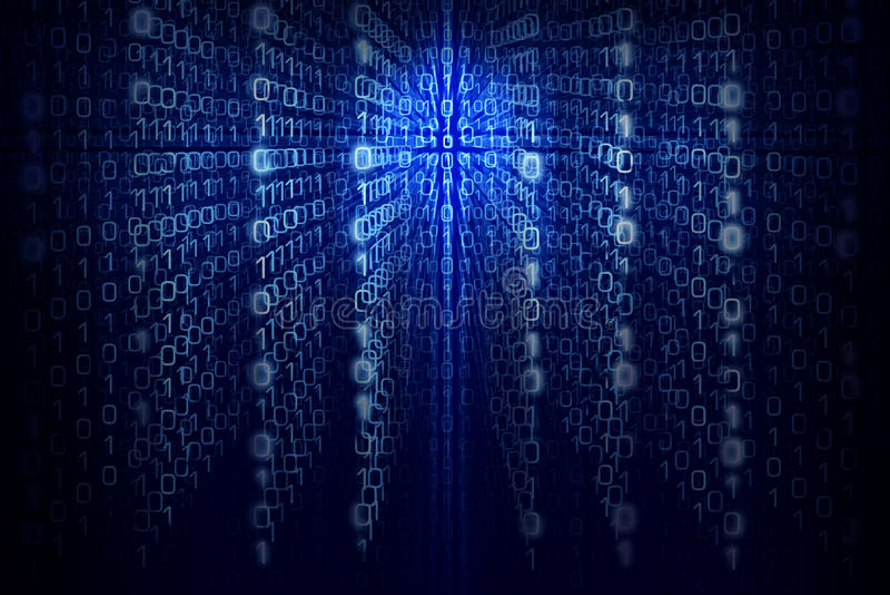 Компьютерный код двоичной вычислительной машины - голубая абстрактная предпосылка