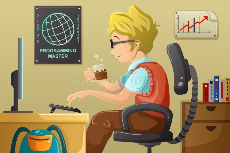 Компьютерный программист работая на его компьютере бесплатная иллюстрация