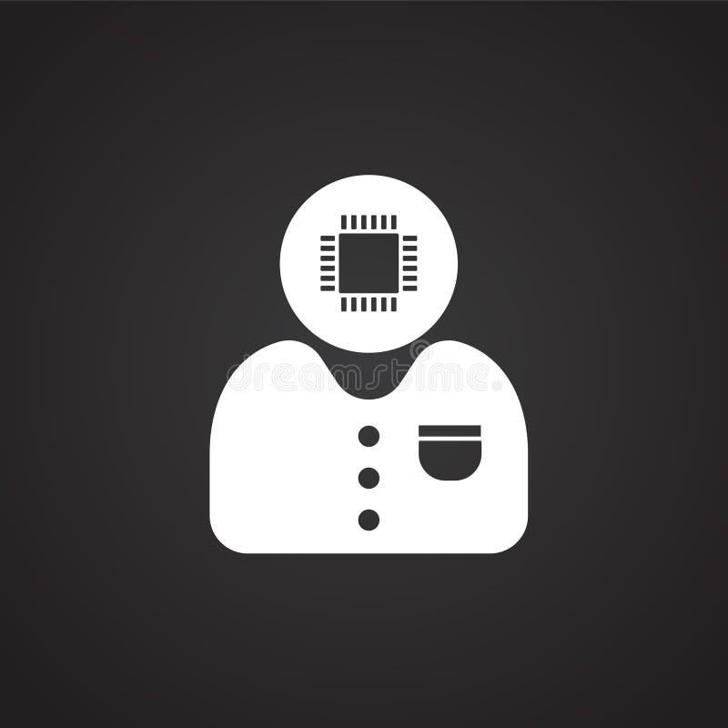 Компьютерный специалист на черной предпосылке иллюстрация штока