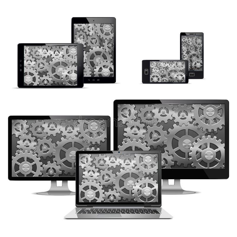 Компьютеры вектора с шестернями бесплатная иллюстрация