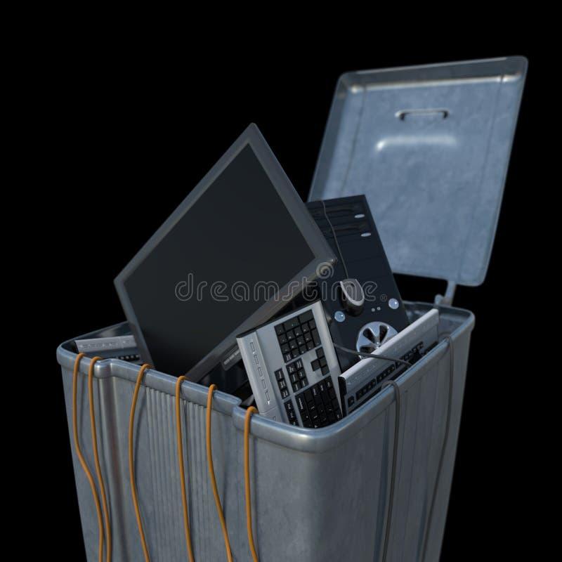 Компьютеры в мусорном ведре на белой предпосылке бесплатная иллюстрация