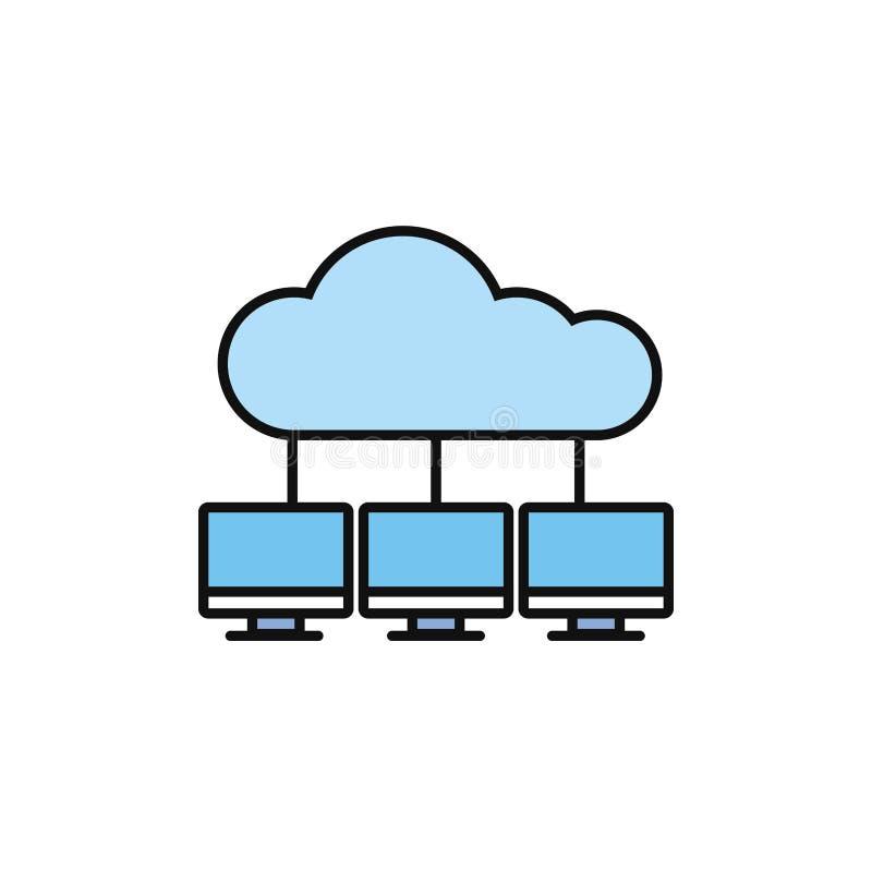 Компьютеры облачных вычислений в центре Интернет-линейного стиля иллюстрация штока