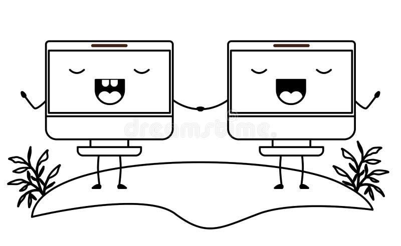 Компьютеры показывают характеры kawaii пар иллюстрация вектора