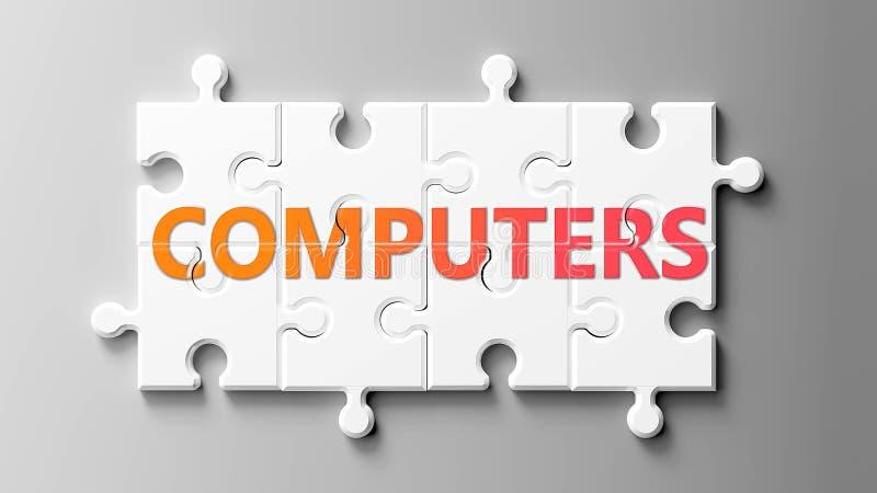 Компьютеры сложны, как головоломка, изображаемые как словесные компьютеры на мозаике, чтобы показать, что компьютеры могут быть с иллюстрация штока