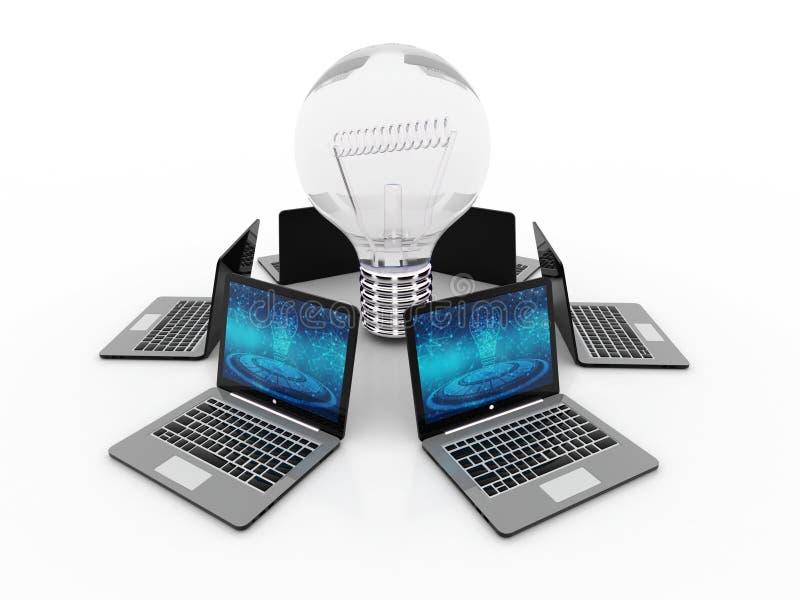 Компьютеры соединенные с шариком, концепцией идеи 3d представляют бесплатная иллюстрация