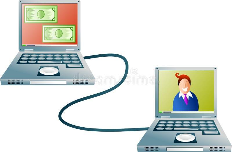 компьютер банка иллюстрация вектора