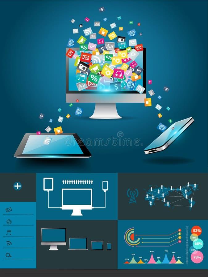 Компьютер вектора с applic мобильных телефонов красочное бесплатная иллюстрация