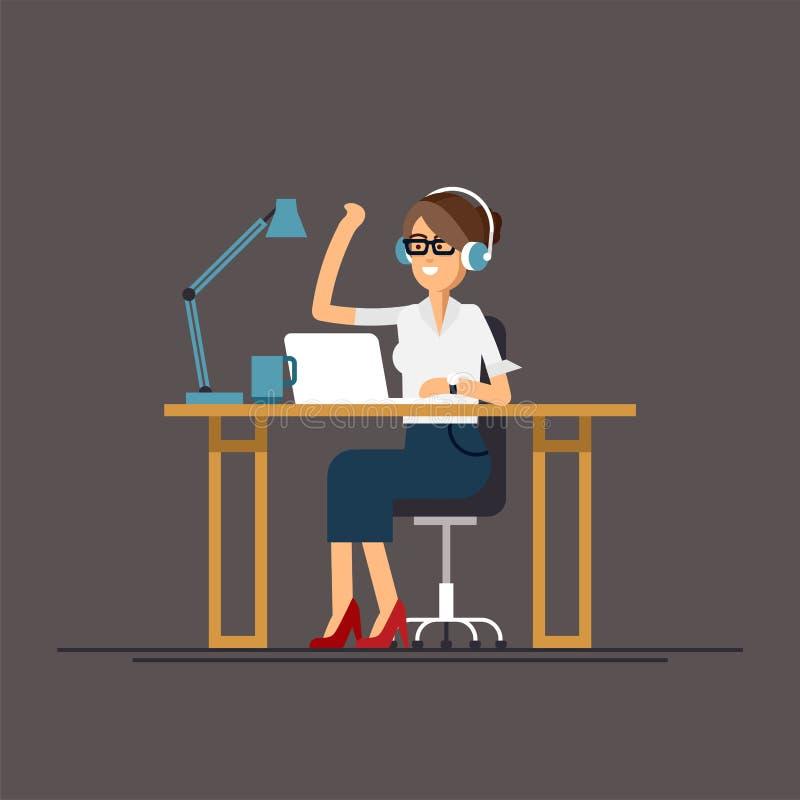 компьютер дела используя женщину иллюстрация штока