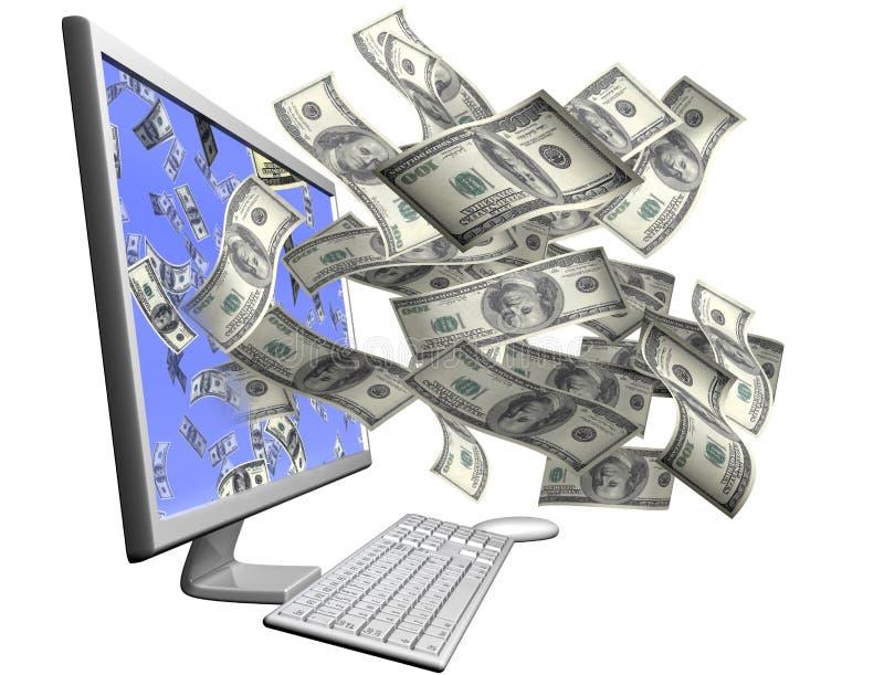 компьютер зарабатывая деньги вашим иллюстрация штока