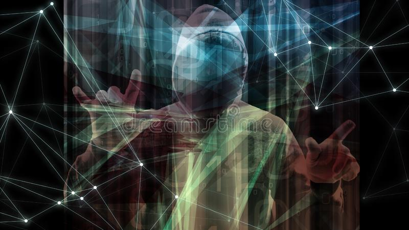 Компьютер зараженный троянским символом программного обеспечения компьютера вируса, целью преступления кибер, кодом больших данны иллюстрация вектора
