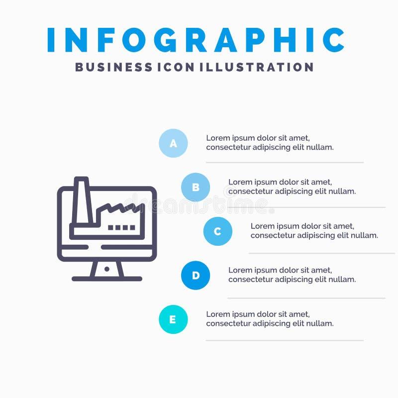 Компьютер, здание, монитор, шаги шаблона 5 Infographics фабрики голубые Линия шаблон вектора значка бесплатная иллюстрация