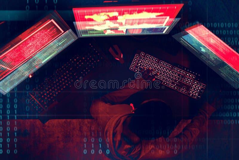 Компьютер злодеяния кибер рубя концепцию стоковые фотографии rf