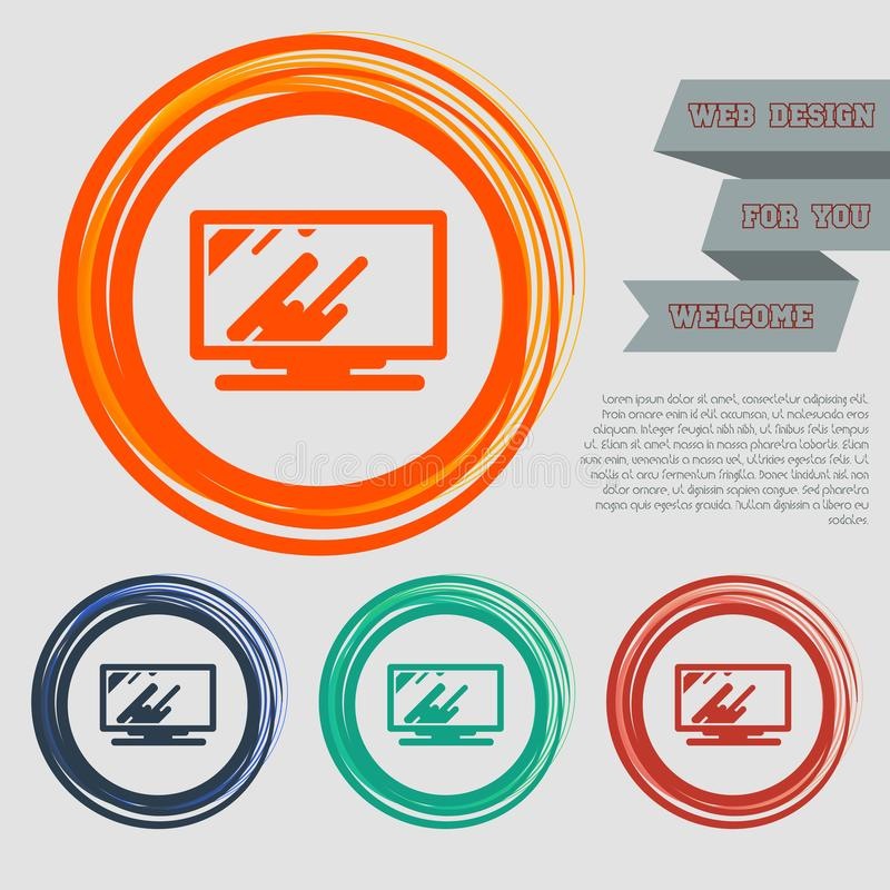 Компьютер, значок монитора на красных, голубых, зеленых, оранжевых кнопках для вашего вебсайта и дизайне с космосом отправляет СМ иллюстрация штока