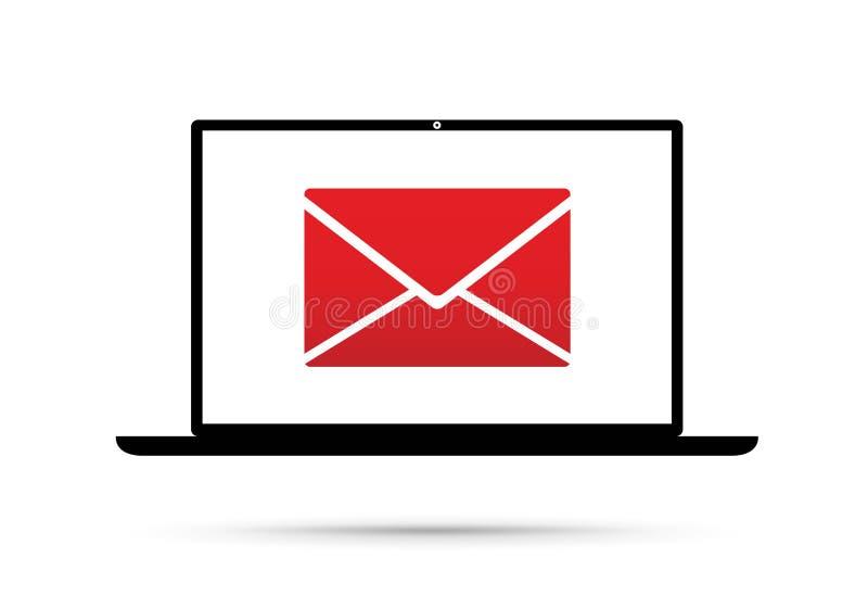 Компьютер имеет электронную почту иллюстрация штока