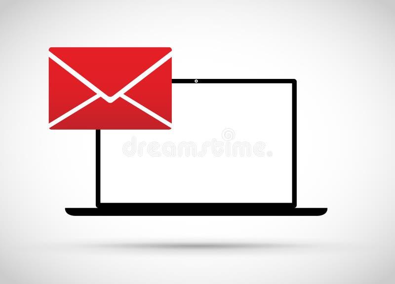 Компьютер имеет электронную почту иллюстрация вектора