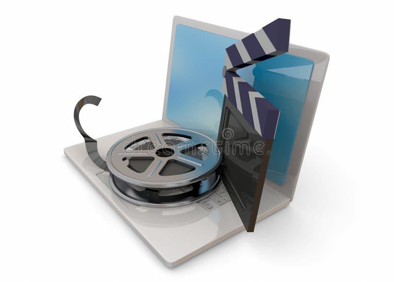 Компьютер и кино - 3D иллюстрация вектора